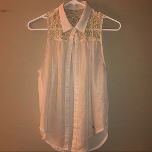 A & f sheer button up blouse